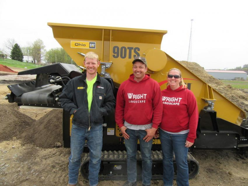 (L-R): Ohio CAT's Kyle Bodkin with Wright Landscape Supply & Marketplace's Shannon and Gretchen Wright.