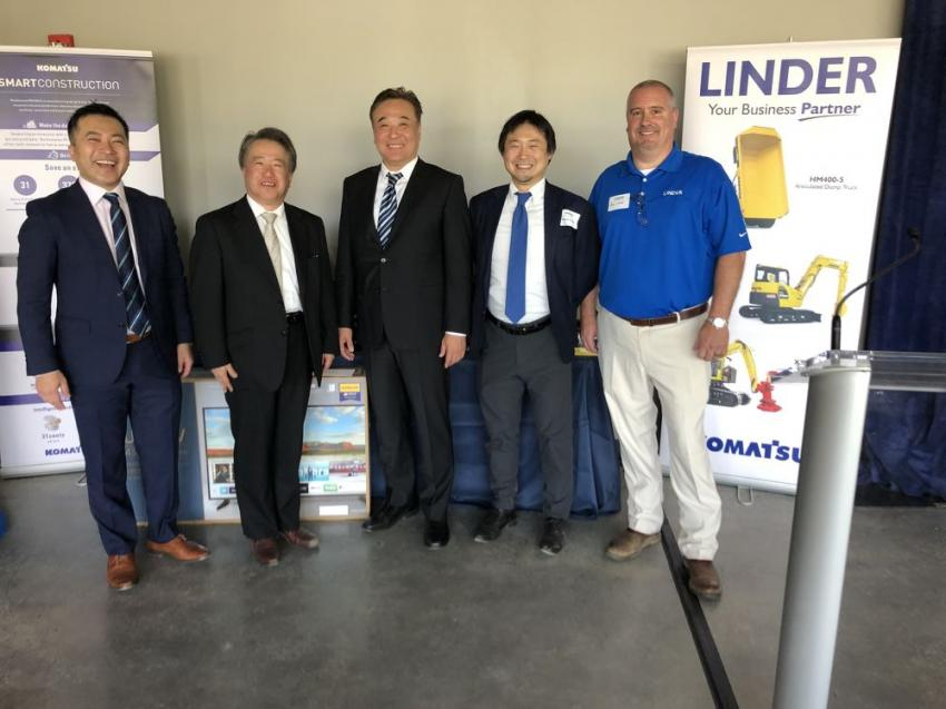 "(L-R) are Chuji ""Chewy"" Nishio, Komatsu America; Hideyuki ""Hank"" Takatsuki, president, Komatsu America; Kenichi ""Kevin"" Hyuga, Sumitomo Corporation of Americas; Masaki Hieda, vice president planning and development, Linder; and Rob Leavel, regional vice president eastern North Carolina, Linder."