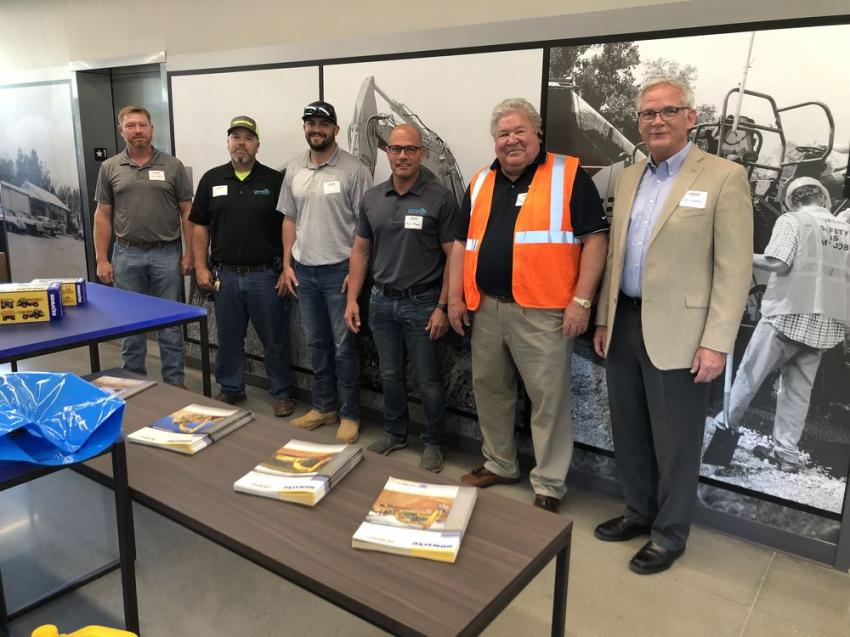 (L-R) are Brian Collins, Wingate Excavating in Wingate, N.C.; Mark Brantley, Seth Farthing and Chris Helms of Centerline Contractors in Monroe, N.C.; Bill Cross, Linder area salesman, and John Coughlin of Linder Industrial Machinery.