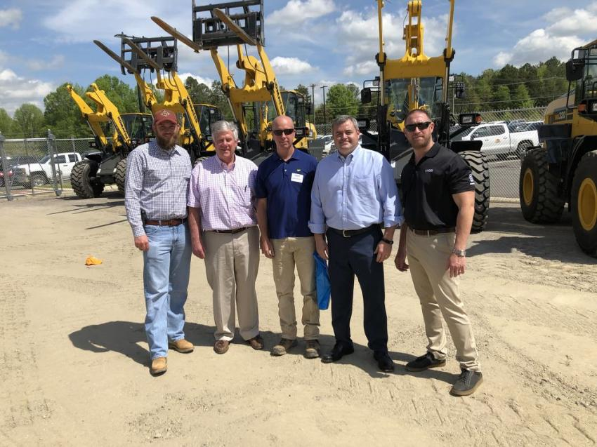 (L-R) are Locke Rowe, Smith Rowe in Mount Airy, N.C.; Conrad Graham, retired from Linder; Kevin Thomas of Lynn Thomas Grading in Polkton, N.C.; and Chris Wilkes and Michael Moore of Linder.