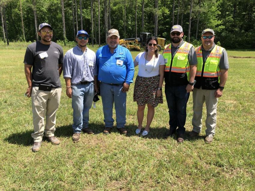 (L-R): Ryan, Michael and Donald Taylor of Taylor Brothers Construction Company, in Columbia, S.C., meet up with Katherine Blanchard Whittle, Rozier Blanchard and Brian Smith of Blanchard Machinery.