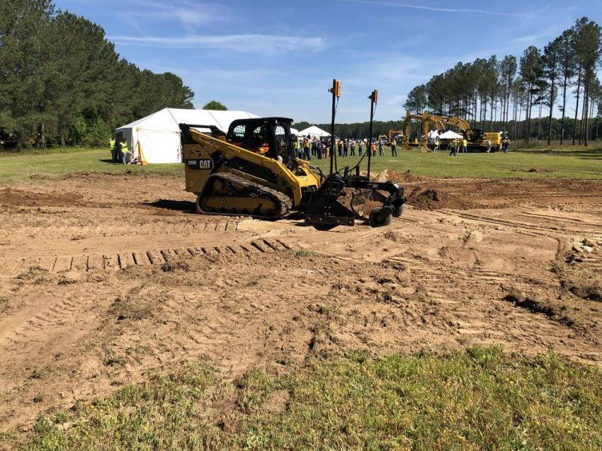 Blanchard demonstrates a Cat 299D compact track loader with Trimble Earthworks Go!
