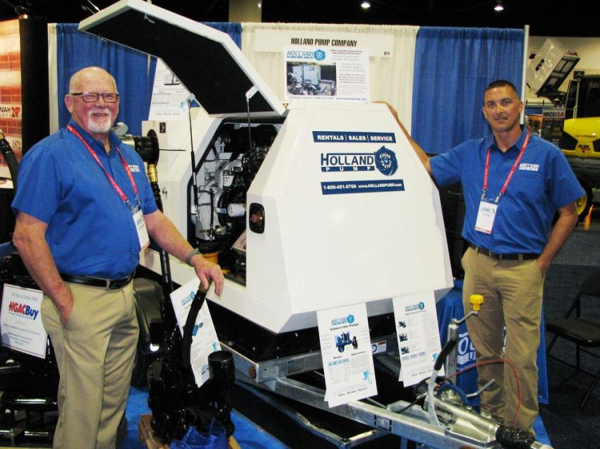 Eugene Lant (L) and Jamie Hon of West Palm Beach, Fla.-based manufacturer Holland Pump were on hand to talking about their company's D150R rapid-response 6-in. suction pump.