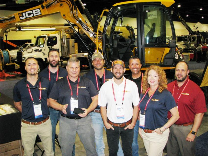 Front and center inside the entrance to the exhibit hall was the MacKinnon JCB display, which had plenty of representatives on hand to field machine questions, (L-R) including Billy Burr, Austin McCoy, John Miller, Kristian Mahrt, Josh Durga, Mark Kollar, Amanda Johnson and Chris Cantiello.