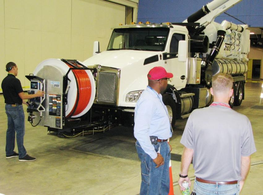 Lots of high-tech machines were available for operating during the equipment rodeo, including this Vactor 2100i vacuum excavator.