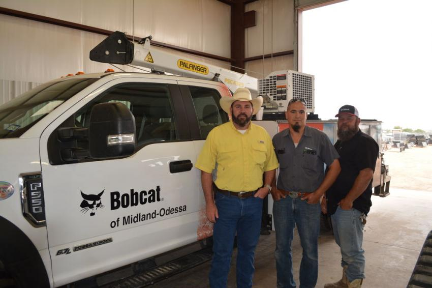 (L-R): Production Management Industries' (PMI) Donald Marin; Bobcat of Midland-Odessa's Randy Read; and PMI's John Jobe.