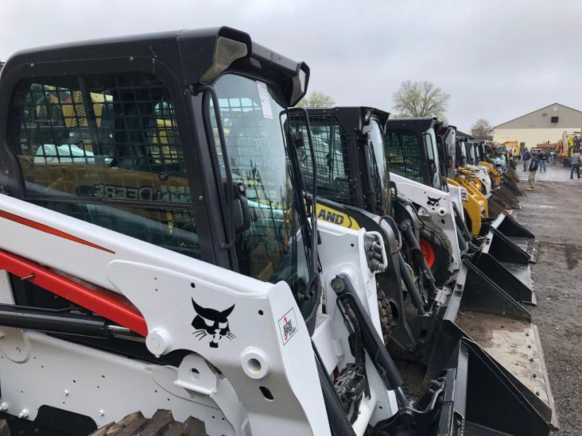 This sale featured an impressive lineup of more than 30 skid steer loaders.