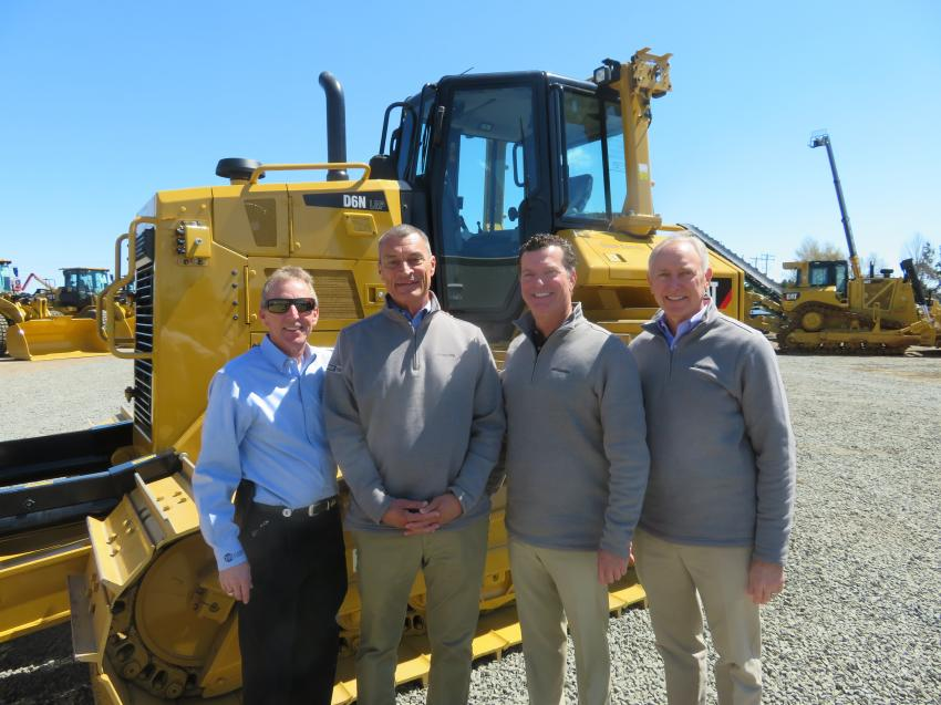 The management team of Fabick Cat on hand to welcome customers (L-R) consisted of Jeré Fabick, president and co-dealer principal; John Fabick IV, senior vice president; Doug Fabick, CEO and dealer principal; and Craig McArton, executive vice president and COO.