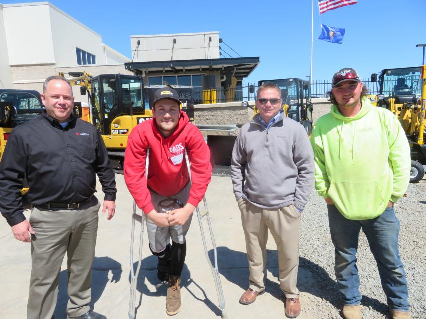 (L-R): Craig Alderton, regional manager of Rototilt; Chad Olson of Dan's Construction; Chris Klien of Fabick Cat; and Nate Insteness of Dan's Construction enjoyed the annual season opener.