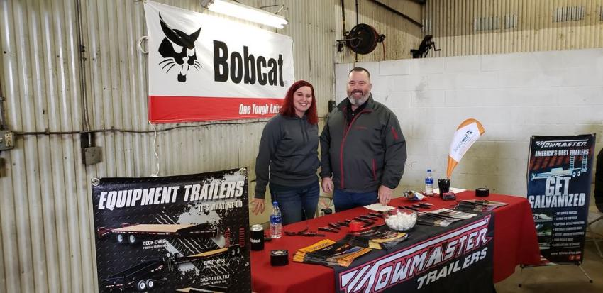 Representing Towmaster Trailers of Litchfield, Minn., at the St. Cloud open house are the team of Jen Boreen, in-house sales, and her mentor, Bob Pace, north/south central sales territory manager.