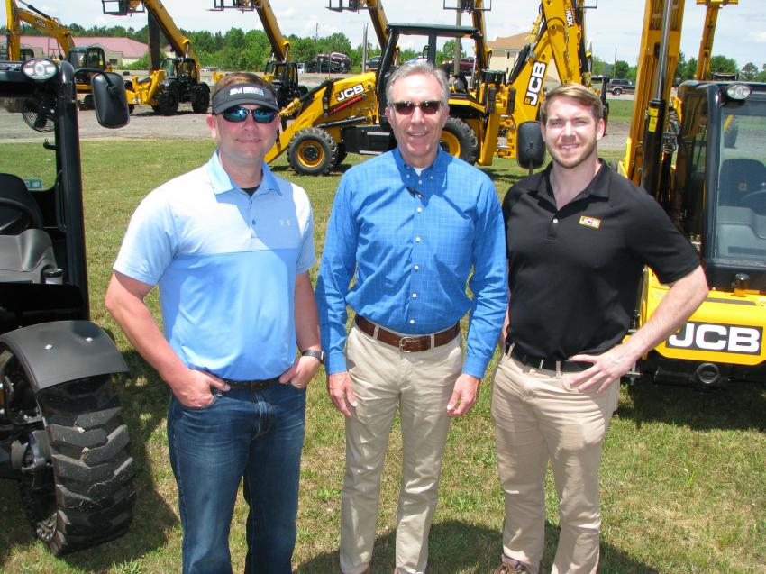 (L-R): Southland's newest sales representative, Ritchie Franklin; Southland Machinery/JCB of Alabama owner Mark Long; and JCB regional sales representative David Barker have the machines lined up and ready for the crowd to turn out on a beautiful sunny Birmingham, Ala., day.