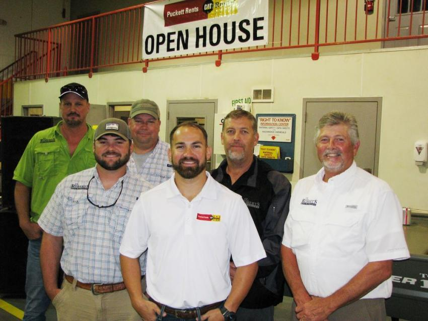 Jay Hall (C), Puckett Rents, welcomes his customers from J.L. Roberts Mechanical, based in Richland, Miss. to the event and (L-R) included Richard Sebren, Kyle Alford, Chris Jones, James Roberts and Tommy Alford.