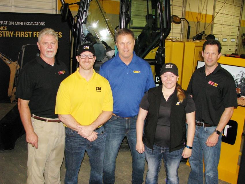 Some of the folks that contributed to the huge success of this event (L-R) included Tommy Kendall, Puckett Rents-Richland, Miss., store manager; David Fisher, Cat Financial; Bubba Gunter, Puckett Cat CCE sales manager; Megan Couch, Caterpillar; and Paul Gregory, vice president of Puckett Rents.