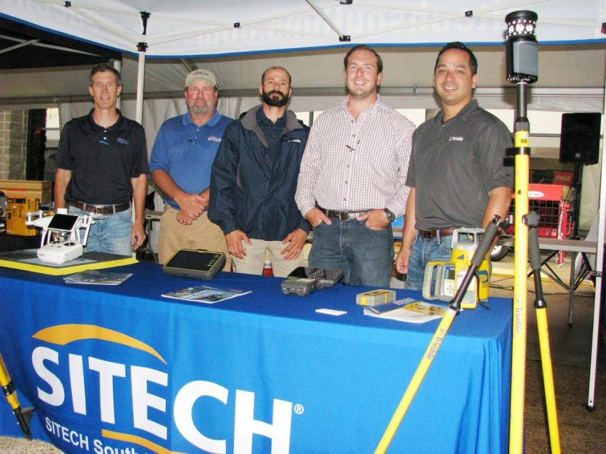 It was a busy day for the guys from Sitech-South Mississippi during the vendor fair. (L-R): Kevin Johnson, Nathan Friday, D.J. Weis, Colby Carpenter and their Trimble representative, Carlos Ramirez Ortiz.