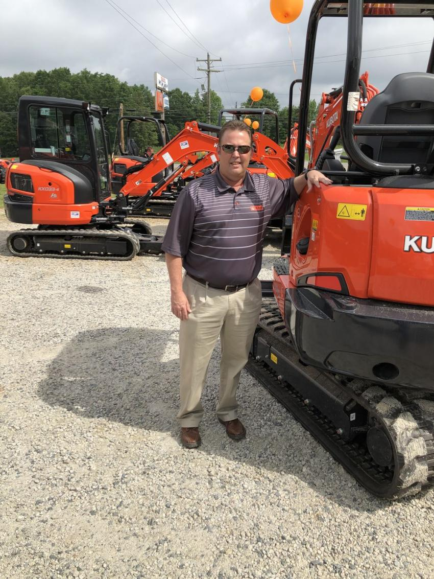 Mike Stegall of Kubota checked out teh items on display.
