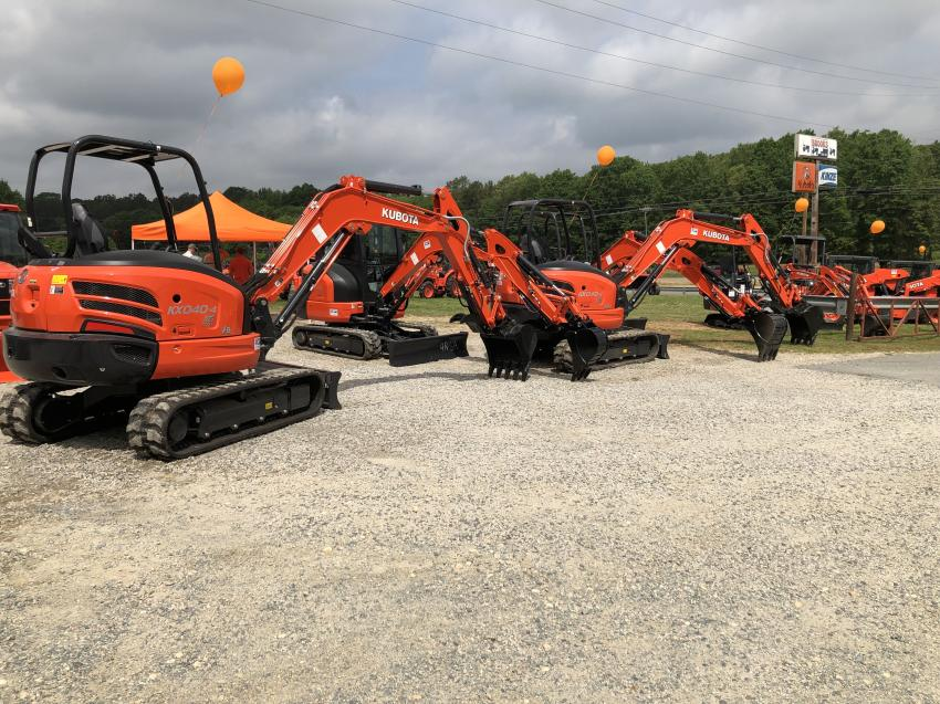 Kubota's line of compact excavators was on display at the open house.