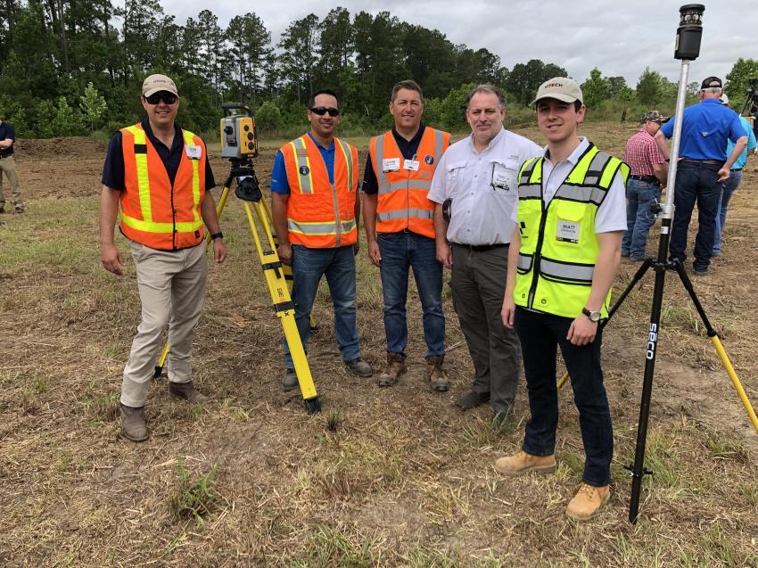 From the left are Sean Frizelle (Sitech Mid-Atlantic), Carlos Ramirez (Trimble), John Balanda (Sitech Mid-Atlantic), Todd Phillips (Gulf Stream Construction) and Matt Gendron (Propeller Aero).
