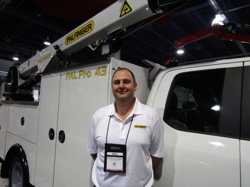Brian Heffon, national sales manager of Palfinger North American, stands with the Pal Pro 43, designed to accept up to a 43,000 ft./lb. crane.