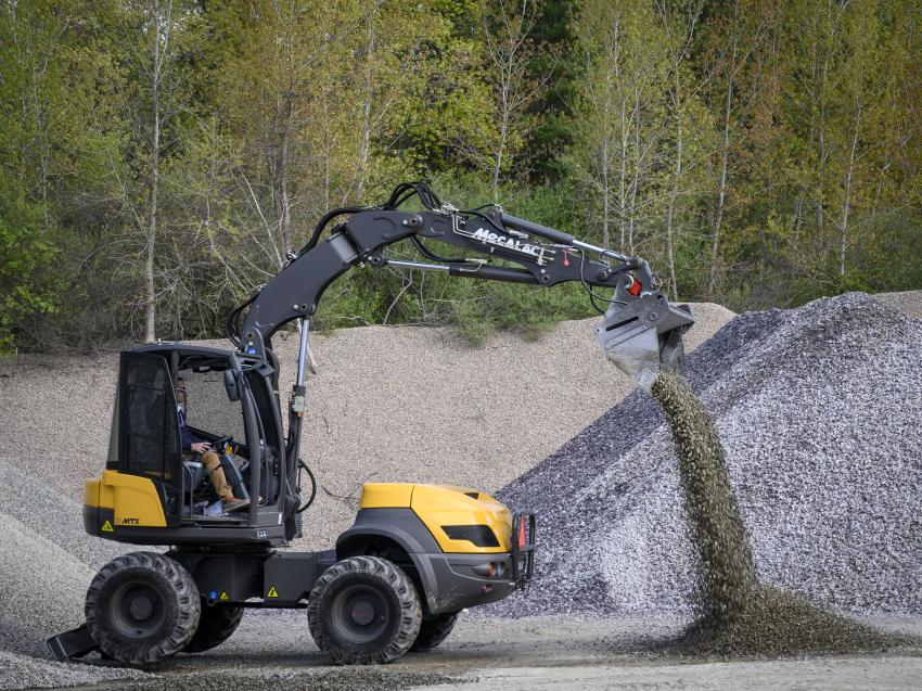 Mecalac's 12MTX wheel excavator loader in action at LHE Demo Day on May 11, 2019.