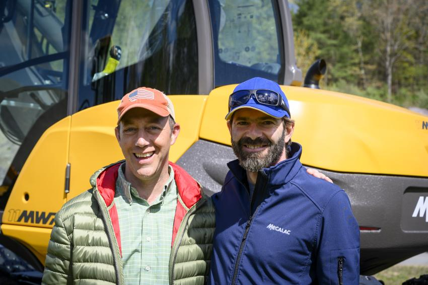 Paul Lorusso (L), owner of Lorusso Heavy Equipment in Walpole, Mass., and Frederic Laborde, Mecalac's business manager North America in Walpole, Mass.