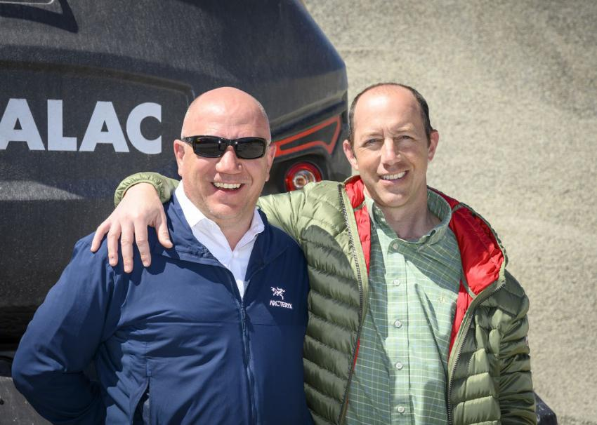 AJ (L) and Paul Lorusso, owners of Lorusso Heavy Equipment, host a Mecalac Demo Day at their Walpole, Mass., location on May 11, 2019.