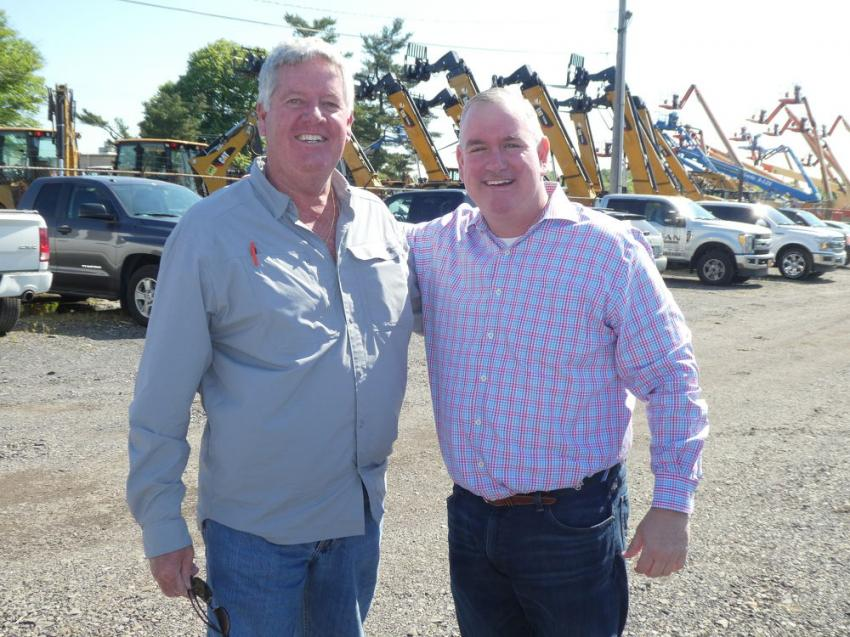 Joe Boyle (L) of Bill Miller Equipment Sales Inc., Eckhart, Md., and Joe Morrissey of James D. Morrissey Inc., Philadelphia, Pa., are enjoying the beautiful weather during Foley's One-Day Sales Event in Bensalem, Pa.