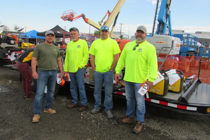 (L-R): Aaron Lee, Terry Carlton, David Grill and Chris Landis, all of Keystone Siteworks, Lehighton, Pa., are looking for some equipment deals.