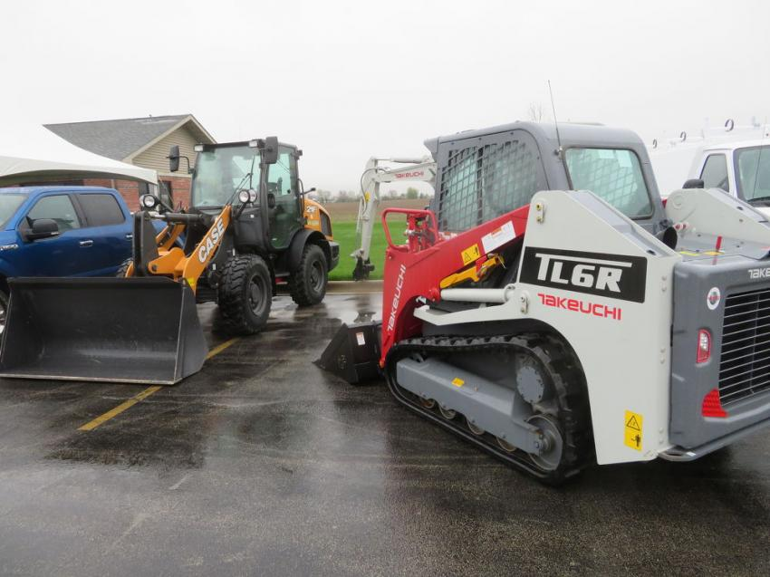 McCann Industries displayed a Takeuchi TL6 CR tracked skid steer, a Case 21F wheel loader and a Takeuchi TB230 mini-excavator.