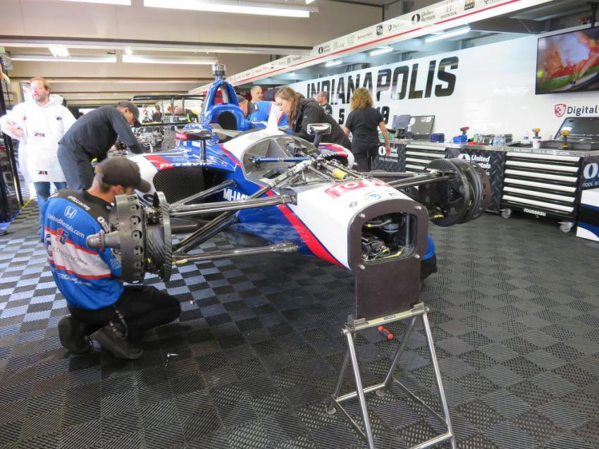 The Rahal Letterman Lanigan race crew sets up the #15 car driven by Graham Rahal.
