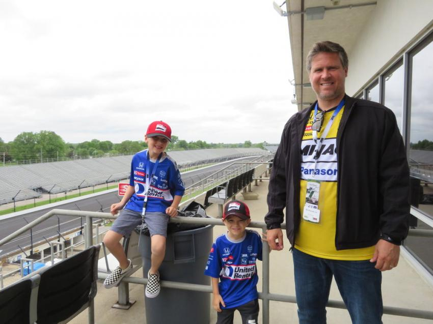 Ed Kocsis Jr. of Broderson Mfg. bought his son, Eddie, and nephew, Barrett, to the Howell Tractor Pole Day.
