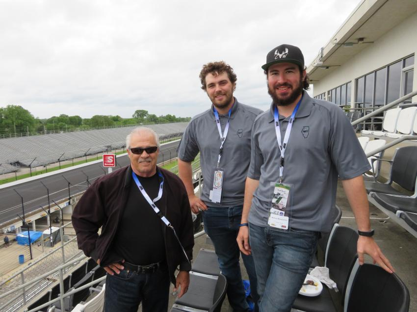 (L-R): Alan Johnson, area manager of Howell Tractor, welcomes Jacob Polson and Michael Mangiantini, both of Illinois Marine Towing, to the Indy 500 Pole Day.
