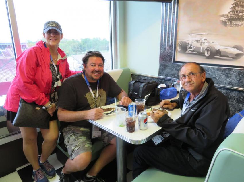 Enjoying some lunch at the Pole Day (L-R) are Kathy Kutcka, John Biesen and Herman Biesen, all of Biesen Excavating.