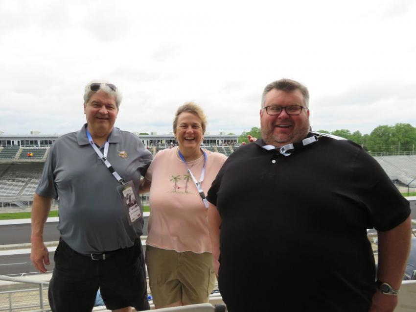 (L-R): John Schaefer and Glenda Snyder, both of Crisman Sand Co. Inc., with Howell Tractor's Mark Dehnert.