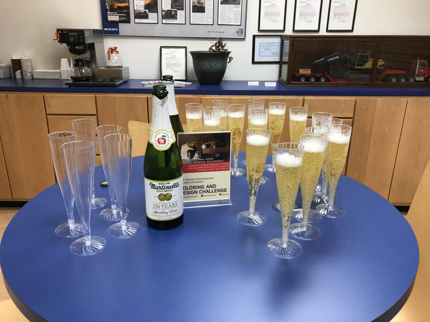 The sparkling cider used in the company-wide toasts. This picture was taken at Ascendum's Charlotte branch.