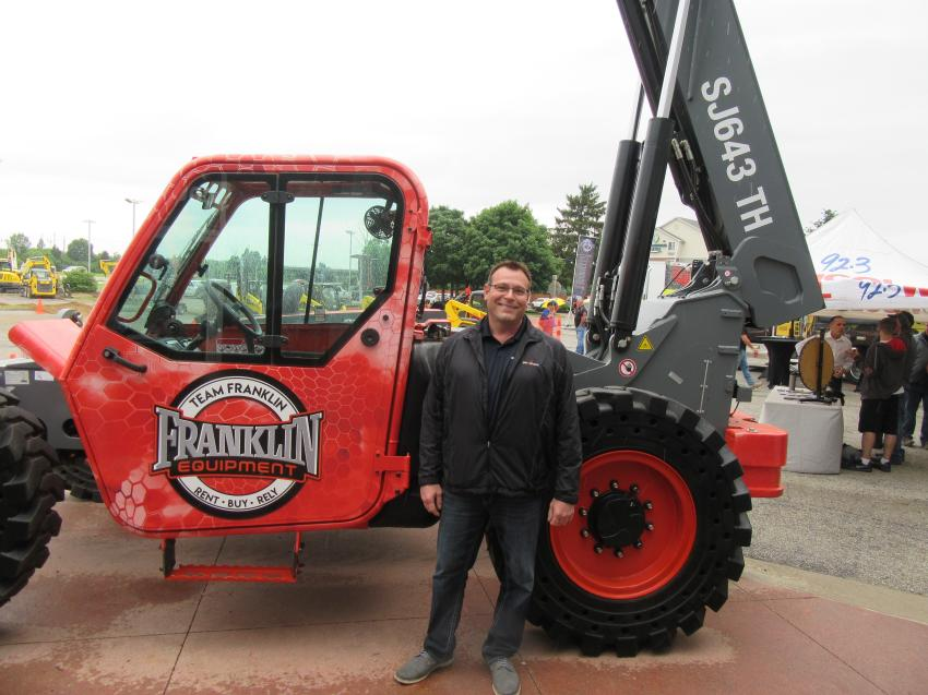 With a Skyjack SJ643TH telehandler, Vito Falconer, regional product support representative of Skyjack Inc, was on-hand to discuss his company's lineup of lifting equipment.