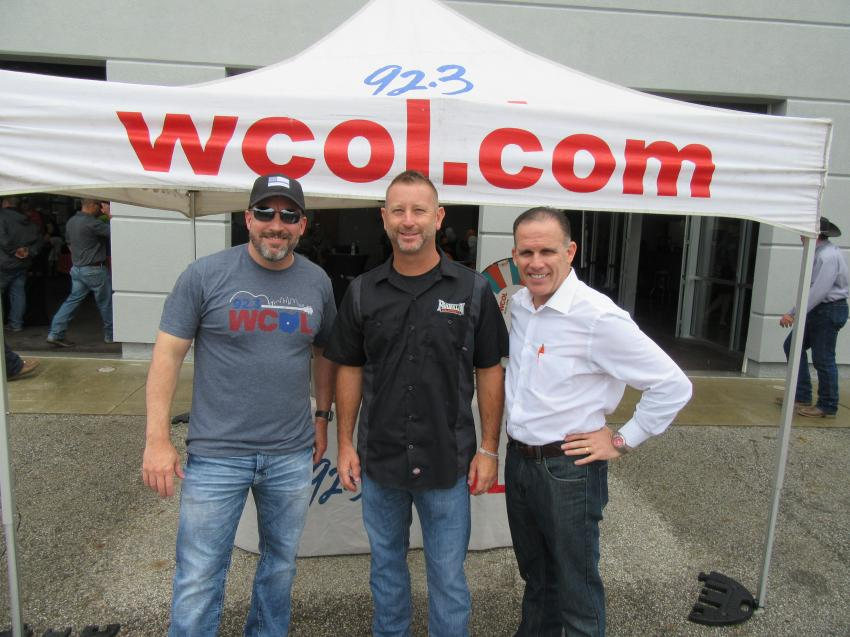 (L-R): WCOL 92.3 Radio's Dan Zuko catches up with Franklin Equipment COO Tony Repeta and iHeart Media's Jim Miller at the skid steer rodeo.