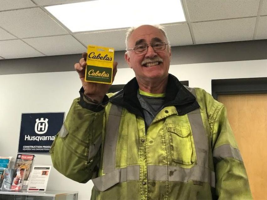 Bruce Bollig of Bollig & Sons Inc. won this Cabela's gift card.