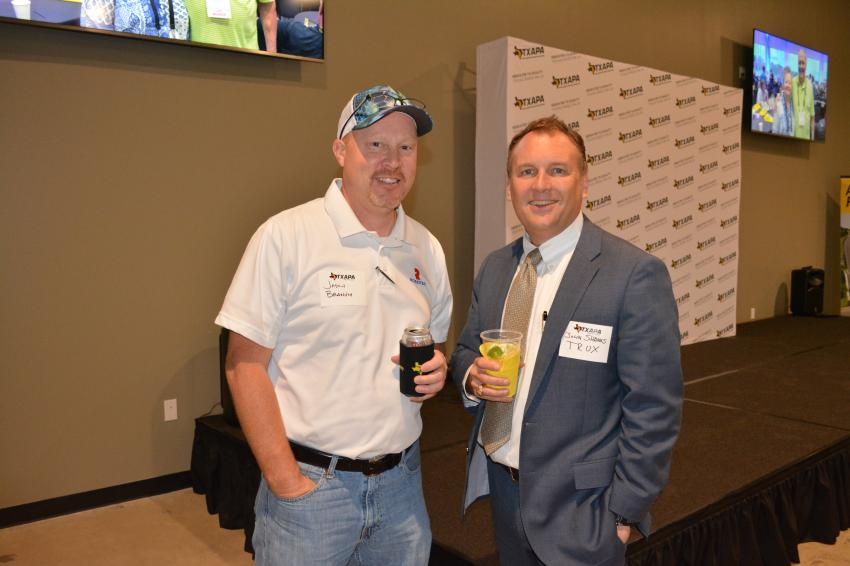 Roadtec's Jason Branum (L) and John Shanks of TRUX at TXAPA's new administrative and training center.