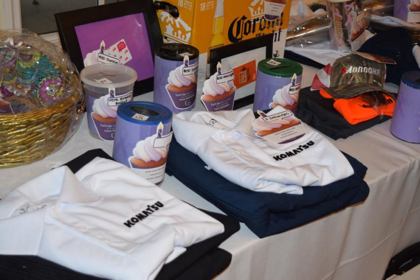 A look at some of the Komatsu apparel made available for the event's silent auction.