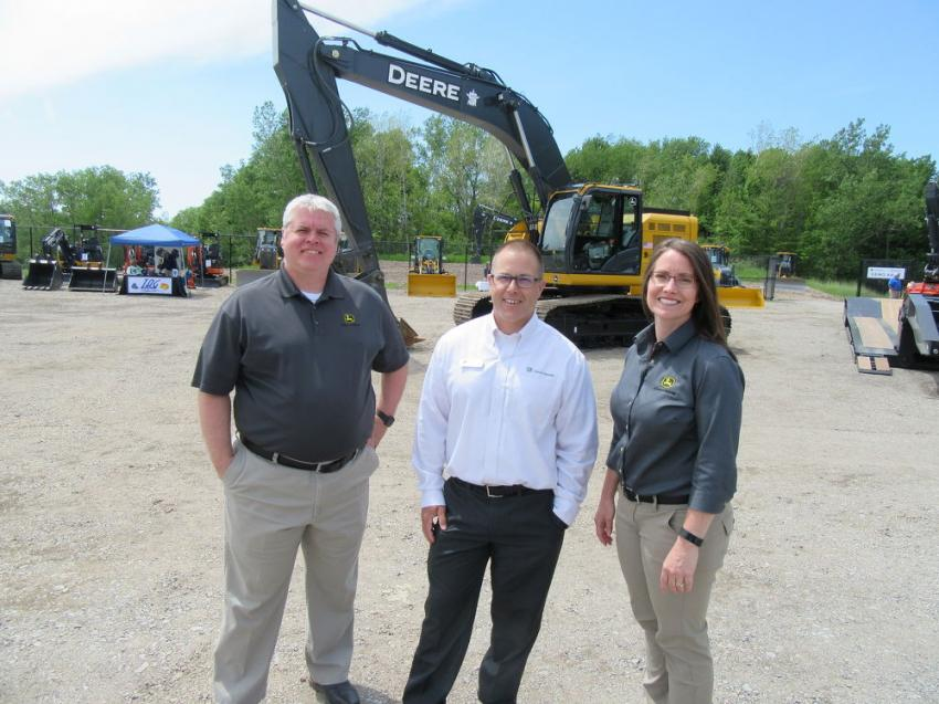 (L-R): John Deere Construction & Forestry Equipment Representatives Bill Hutton, Dave Reinicke and Brea Harms were on hand to celebrate Five Star Equipment's Orchard Park grand opening and congratulate the company on its ongoing success.