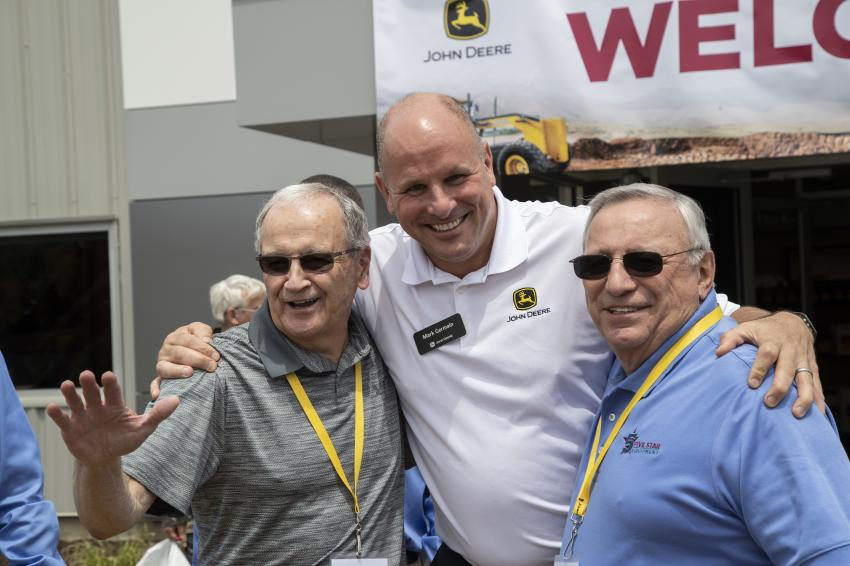 Bill Bochicchio Sr. (L) and Frank Gallo (R)  enjoy the grand opening event with Mark Germain, John Deere's director of worldwide retail channel development.