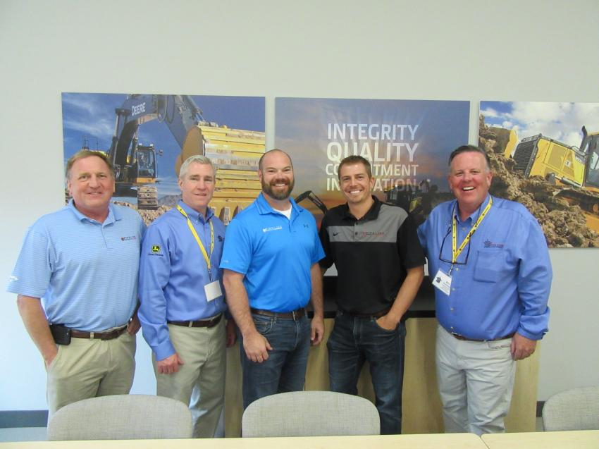 (L-R): Pipeline System's Roger Gildea joined Five Star Equipment CEO Bill Farrell, along with James Slater and DJ Craven of Pipeline Systems and Five Star General Manager of  Orchard Park and Waterford, Bill McDonald for a tour of the new facility.