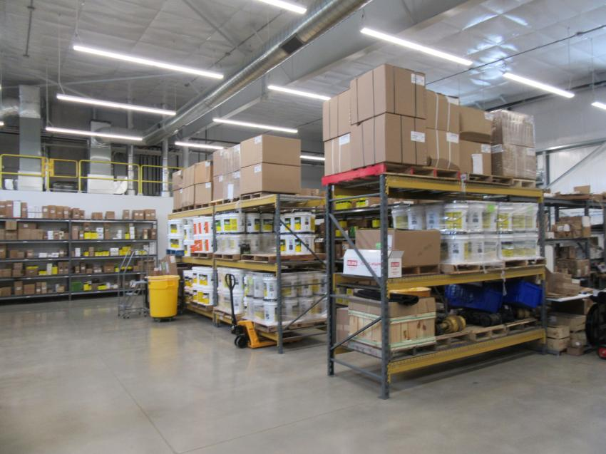 The parts warehouse includes garage door access for efficient receiving and parts dispatch.