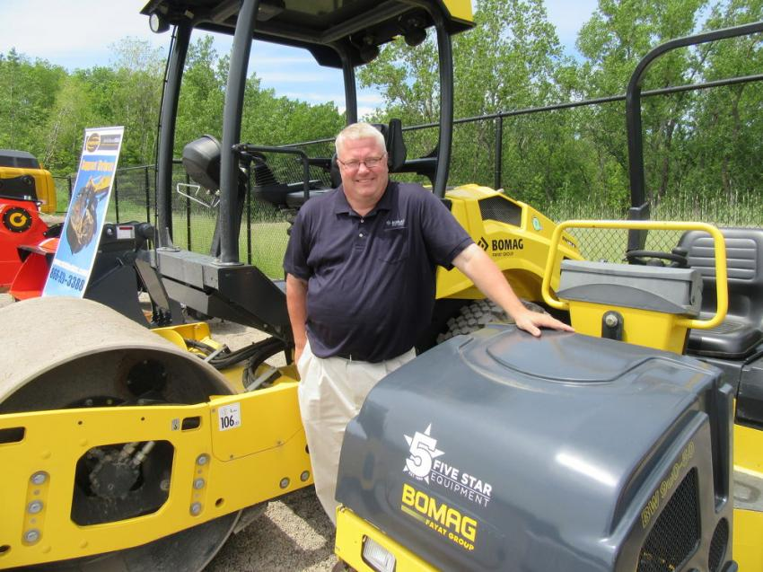 Bomag Territory Manager Mark Armel had a variety of asphalt paving equipment on display.