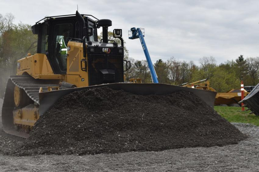 One of the featured machines was this CAT D6XE, a high drive electric drive dozer with fully integrated CAT Grade Control and a 35 percent increase in fuel efficiency.