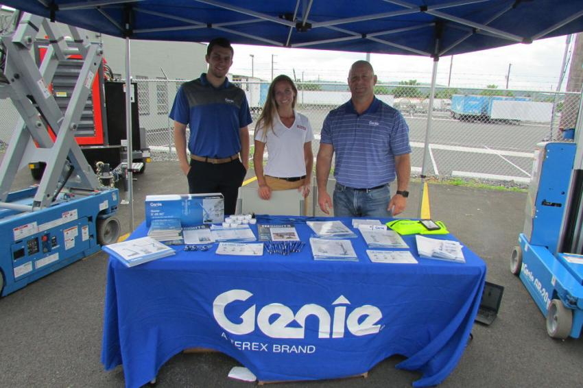 Representing Genie at the ABLE Open House (L-R) were Max Izotov, associate territory sales manager, northeast region; Courtney Northrop, Terex Financial Services, U.S. aerial work platforms and sales manager, northeast and mid-Atlantic regions; and Ethan Waller, senior regional territory manager, Genie.