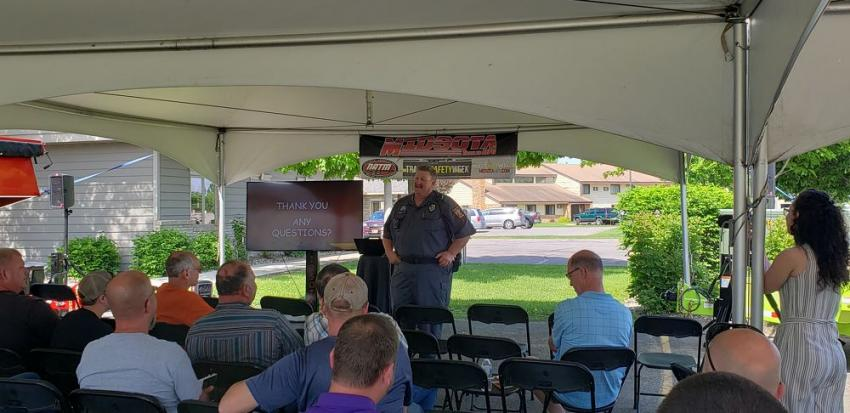 Eric Sundby, of Minnesota State Patrol District 4700 Commercial Vehicle Enforcement, reviews and informs operators on the updated and current trailer safety rules and regulations for weight, size and operation on Minnesota roads.