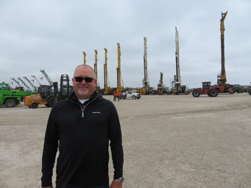 Jay Germann, used equipment manager of Roland Machinery Co., is a well-traveled auction goer.