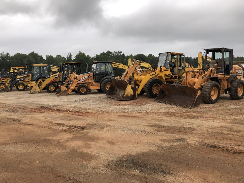 Case, John Deere and Cat backhoes and wheel loaders were available