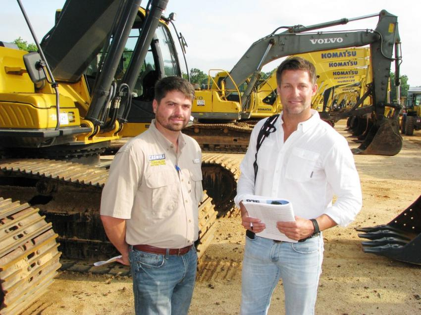 Talking about the incredible lineup of excavators at this sale are Josh Harris (L) of Caswell Wrecker Service, Newnan, Ga., and Blake Thornton of BTM Machinery, Charleston, S.C.
